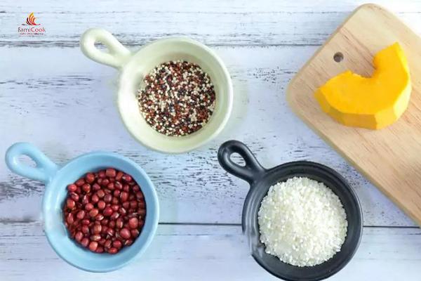 nguyên liệu cháo bí đỏ quinoa